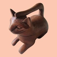 Hand Carved Cat Trinket Box