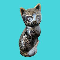 1986  Franklin Mint Black and Gold  Cat Figurine