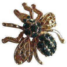 Vintage  Green Rhinestone Bee Brooch/Pendent