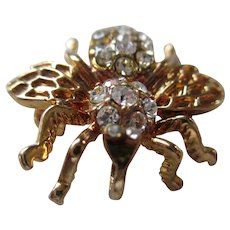 Vintage Clear Rhinestone Bee Brooch/Pendent