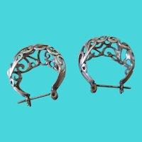 Silver 925 Open Cut Filigree Post Earrings