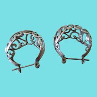 Silver 925 Open Cut Filigree Post Earrings