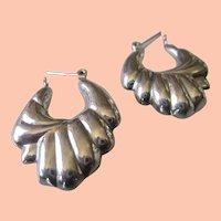 Silver 925 Hinged Hoop Earrings