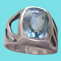 Sterling Silver  Arts and Crafts Aqua Marine Ring