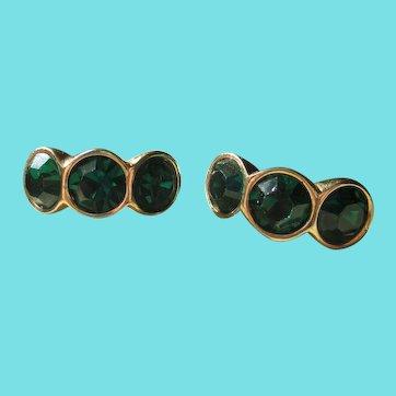 S.A.L. (Swarovski)Green Stone Post Earrings