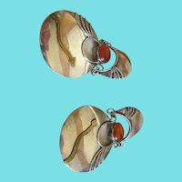 Sterling 925 /Amber Moveable  Post Earrings