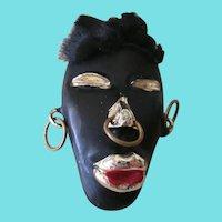 Vintage Black Mask Brooch