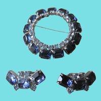 Vintage Emerald Cut Blue Rhinestone Brooch and Earrings