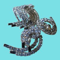 1980s Sapphire Blue and Clear Rhinestone Brooch and Earrings