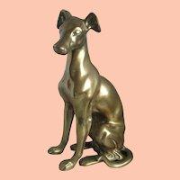 Vintage Brass Greyhound Sitting Dog