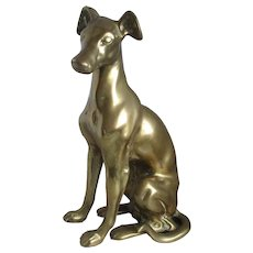 Vintage Brass Greyhound Sitting Dog