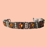 1950s Amber Rhinestone/Faux Pearl Bracelet
