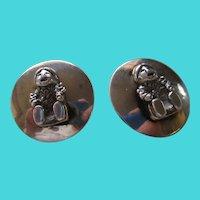 925 Sterling Silver Disk Figural Earrings