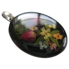 1970s Resin Sterling Floral Pendent