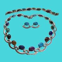 950 Silver Taxco 1970s Necklace, Bracelet Earring Multi Stone