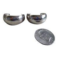 925 Sterling Silver Large Half Moon Earrings