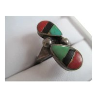 925 Silver Coral, Turquoise, and Onyx Ring