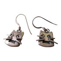 925 Silver Cat Face Wire Earrings