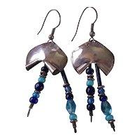925 Silver Glass Bead Wire Earrings
