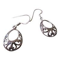 925 Silver Tear Drop Wire Earrings