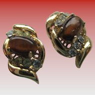 Pair of Tigereye/ Rhinestone-Goldtone Post Earrings