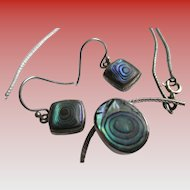 Vintage 925 Silver Abalone / Onyx Necklace and Wire Earrings