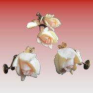 1950s -1960s 14 k GF Wells -Carved Rose Buds Brooch and Earrings