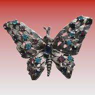 Pewter Rhinestone Butterfly Brooch