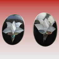 Alpaca Silver (Mexico) Abalone/Onyx Clip Earrings