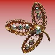 Vintage Austrian Crystal Rhinestone -3- Leaf Brooch