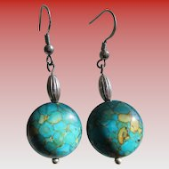 Turquoise 925- Sterling Silver Button Wire Earrings