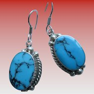 925 Silver Turquoise (processed) Wire Earrings
