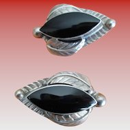Vintage 925 Silver and Onyx Clip Earrings