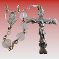 Vintage Catholic Rosary- Italian Sterling Silver-Malco