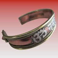 Vintage East India-Copper/925 Silver/Brass Cuff Bracelet