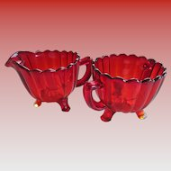 Red Depression Creamer and Sugar Glass Set