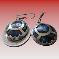 Circa 1979- Taxco Mexico Silver 925-Blue Stone Wire Earrings