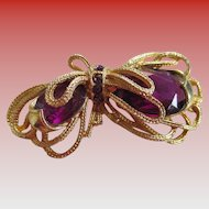 Amethyst Colored Glass Stone Brooch