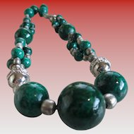 Vintage Large Green Onyx Bead Necklace