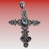 925/Silver Cross/Aquamarine Stone Pendant