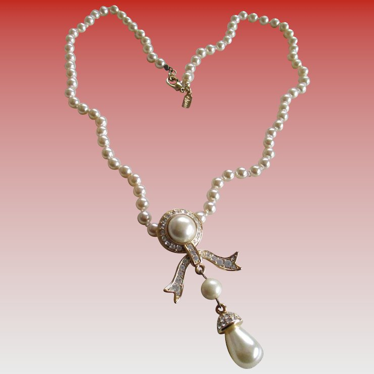 chanel grey faux strand pearl lar nk vintage gunmetal cc necklace product