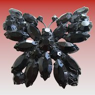 Weiss Black Stones Butterfly Brooch