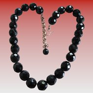 Vintage Glass Black Bead (facet) Necklace