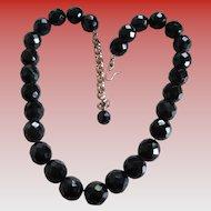 Vintage Glass Black Bead (facet) Necklace
