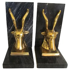 Onyx/Brass Gazelles Book Ends - Red Tag Sale Item