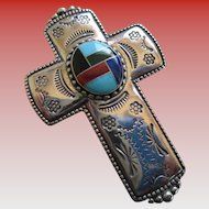 Sterling 925 Silver/Turquoise,Onyx,Lapis Cross