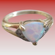 Opal (lab created) Trilliant Cut 10 K Gold Ring
