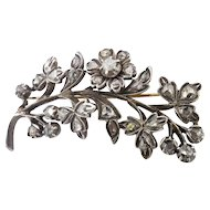 Antique Victorian Rose Cut Diamond Floral Spray Brooch Silver/14k