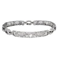 Antique Edwardian 5.22ct t.w. Old European Cut and Trilliant Cut Diamond Filigree Bracelet Platinum