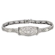 Art Deco 1930's Vintage Old European Transitional Cut Diamond Filigree 14k White Gold Platinum Tennis Line Bracelet